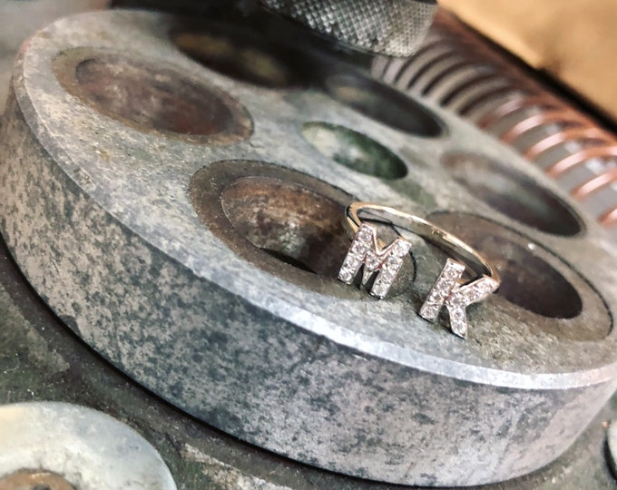 Double Initial Diamond Ring in 14k Gold