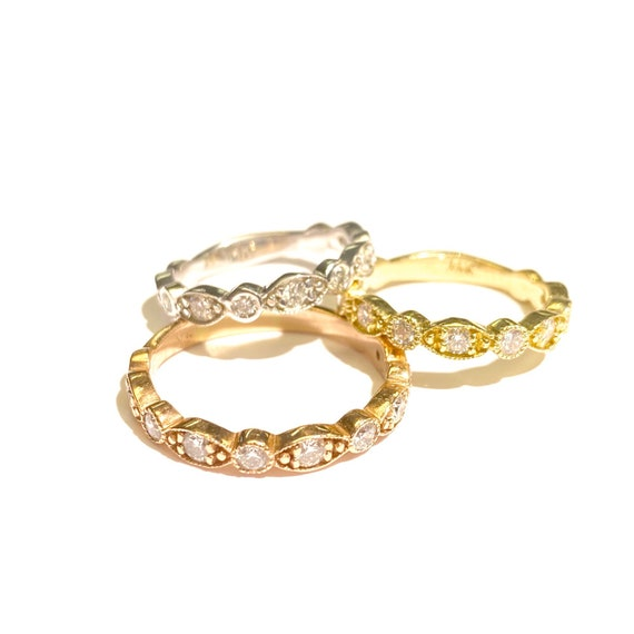 Diamond Deco Stackable Ring in 14k Gold