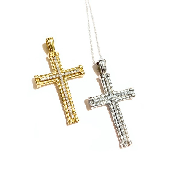 Diamond Twist Cross in 14k Gold