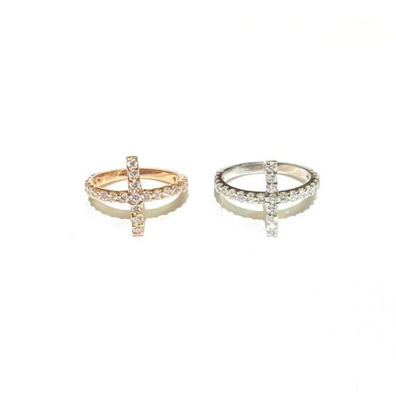 Full Diamond Sideways Cross Ring in 14k Gold