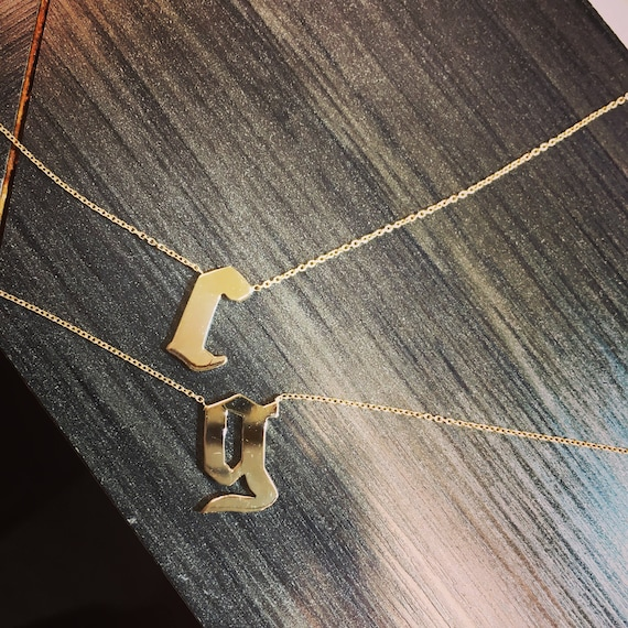 Double Initial Necklace in 14k Gold