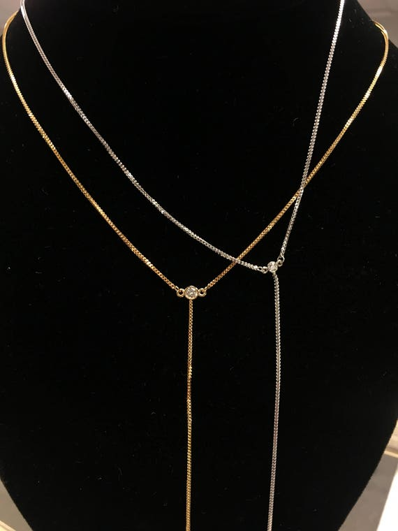 Double Diamond Samantha Necklace in 14k Gold