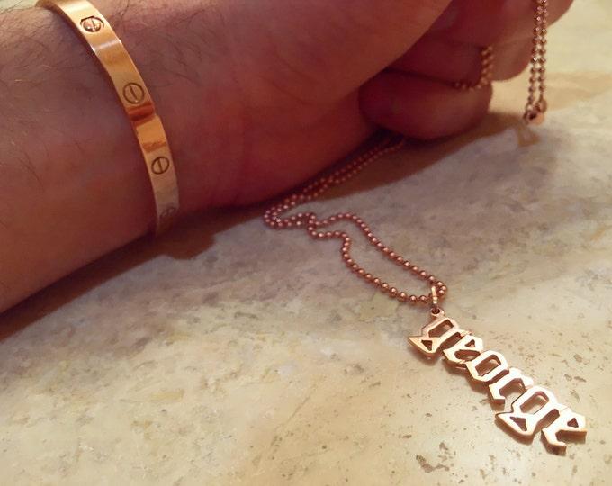 Hanging Name Pendant in 14k Gold