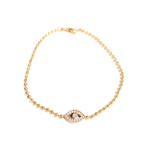 II EDITION Diamond Evil Eye Bracelet in 14k Gold