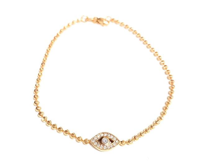 Featured listing image: II EDITION Diamond Evil Eye Bracelet in 14k Gold