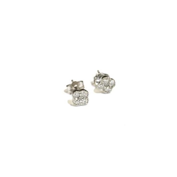 Diamond Four Leaf Clover Stud Earrings