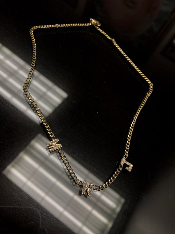 Triple Diamond Initial Curb Link Necklace in 14k