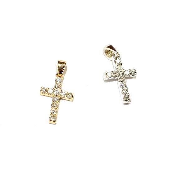 Mini Diamond Cross in 14k Gold