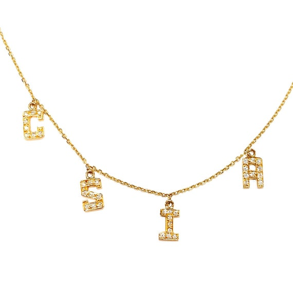 4 Diamond Initial Necklace in 14k Gold