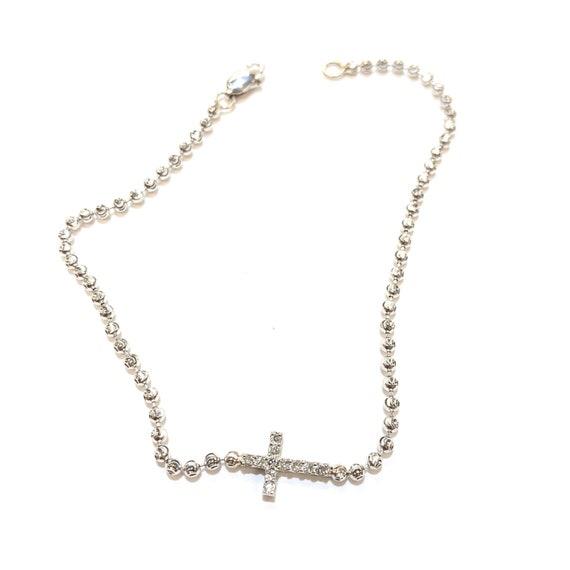 Diamond Sideways Cross Bracelet in 14k Gold