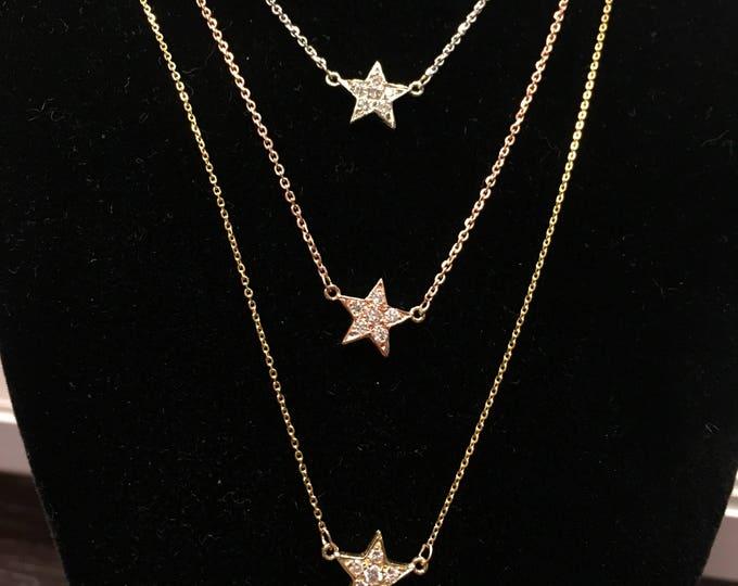 Diamond Star Necklace in 14k Gold