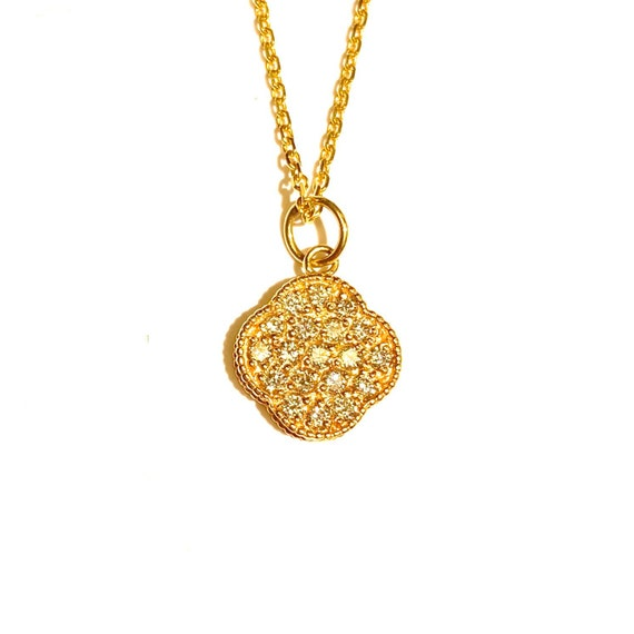 Diamond Lucky Four Leaf Clover in 14k Gold