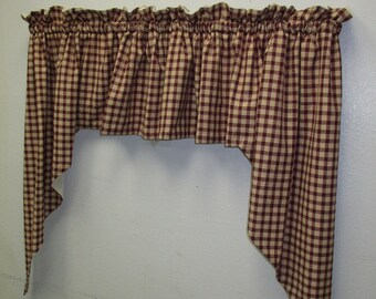 Rustic Country Swag Curtains Burgundy Tan Check 36 Homespun Fully Lined