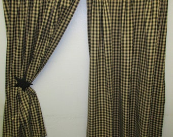 Country Primitive Black Check Homespun Curtains 45 Long Tiers Rustic Farmhouse Cabin Decor