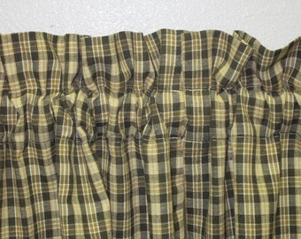 Country Primitive Homespun Tier Curtains 26 Long Green Mustard Log Cabin