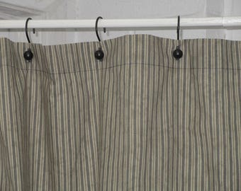 Rustic Primitive Navy Blue Tea Stained Ticking Shower Curtain Country Farmhouse Bath Decor