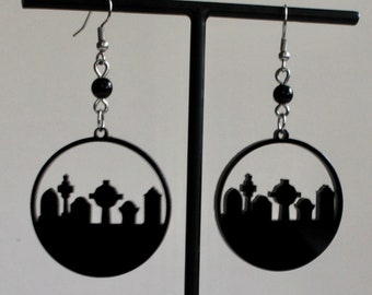 Black Acrylic Laser Cut Cemetery Silhouette Hoop with Vintage Rosary Bead