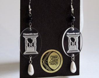 Memento Mori Hourglass Earrings with Faux Pearl Teardrop and Black or Red Accent