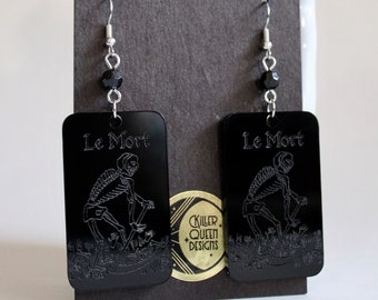 Le Mort Death Tarot Card Laser Etched Earring with Vintage Rosary Bead