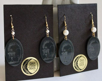 Laser Etched Grey Victorian Urn and Weeping Willow Motif Earrings with Large or Small Faux Pearls