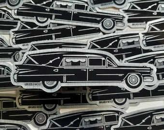 Shiny Silver and Black Vintage Style Hearse Sticker