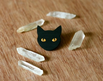 Laser Etched and Hand Painted Cat Face Pin