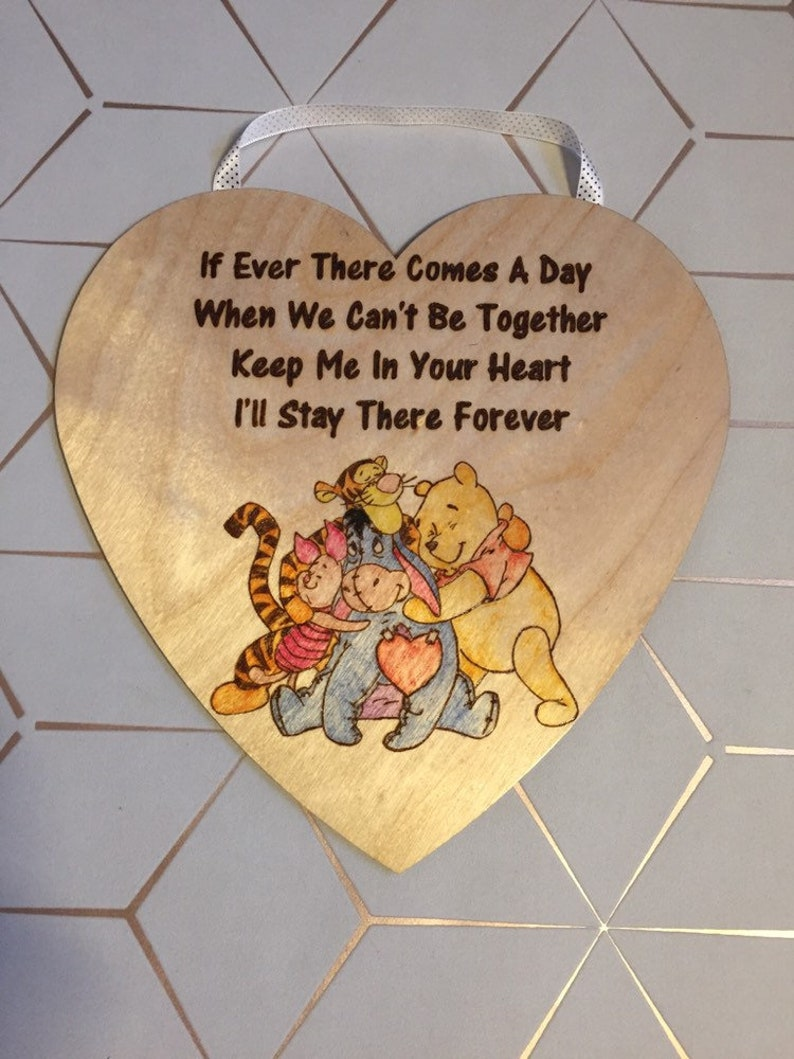 Winnie The Pooh Quote Wooden Hanging Heart Large Wood Burnt Pyrography Nursery Home Decor Childrens Cute Love Gift