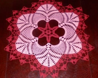 "Lovely Handmade Crochet Tablecloth Doily, RED Colors, Round, 22.5"", 100% Cotton, FREE shipping USA"