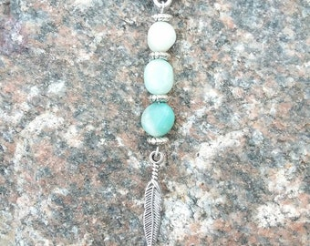 Amazonite Ombre Necklace with Feather Charm