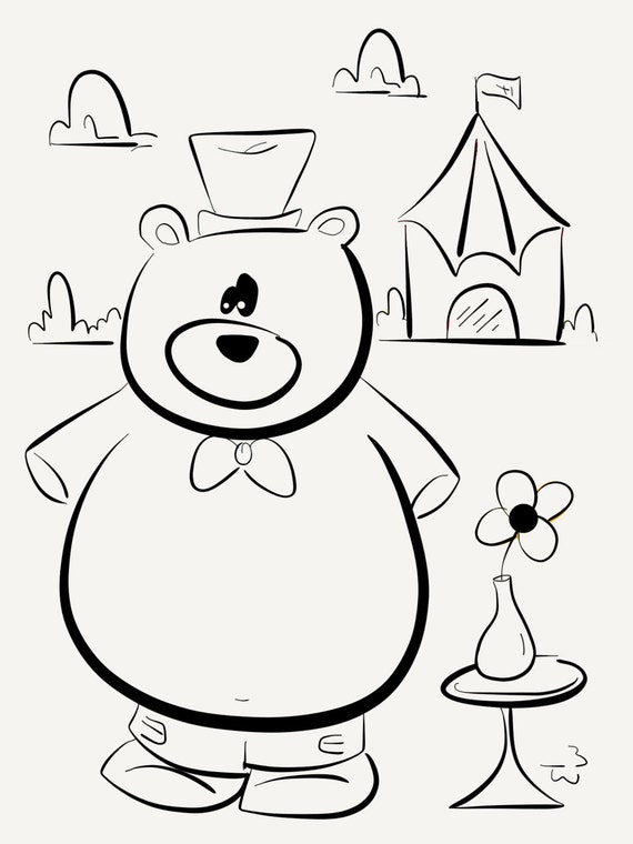 - Circus Bear Coloring Book Instant Download Coloring Pages Etsy