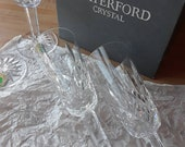 4 Waterford Lismore champagne flutes in box