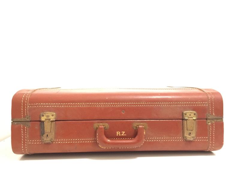 Z The Vintage R Suitcase Chevron Mid Century Large Stitching Travel Prop Antique Vintage Retro Travel Piece Luggage Leather Brown Pumpkin