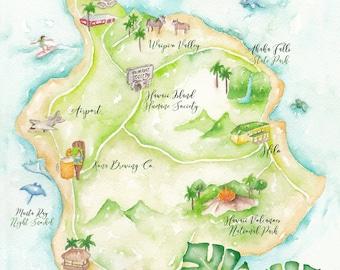 Custom Wedding Map - Hawaii Wedding Map - Watercolor Wedding Map - Illustrated Wedding Map