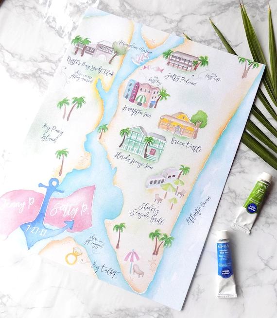Map Of Watercolor Florida.Custom Wedding Map Watercolor Wedding Map Amelia Island Etsy