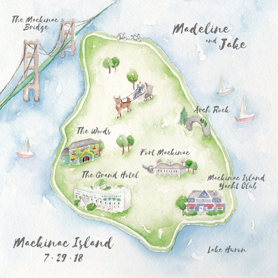 Custom Wedding Map- Mackinac Island Wedding Map- Watercolor Wedding on lake huron map, grand rapids map, michigan map, ottawa island map, crespo island map, somerset island map, isle royale map, saint joseph island map, ionia island map, lawrence island map, douglas island map, great lakes map, bois blanc island map, traverse city map, mackinaw city map, tahquamenon falls map, lake island map, drummond island map, raspberry island map, st. louis island map,
