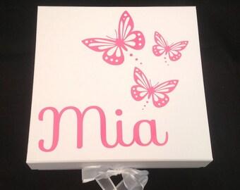 Baby Girl Memory Box | Baby Shower Memory Box | Baby Memory Box | Christening Gift | Keepsake Memory Box | Large Baby Memory Box | Butterfly