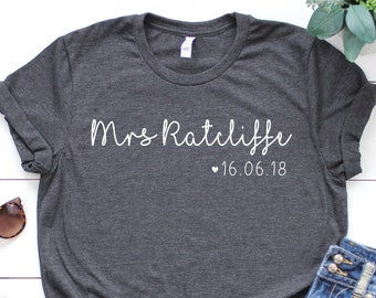 Personalised Mrs Shirt • Personalised Bride Shirt • Future Mrs Shirt • Mrs Bride Shirt • Newlywed Shirt •Wife Shirt •Bride Tshirt •Wifey Top