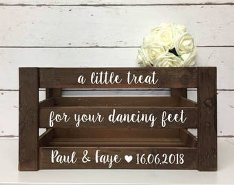 b86441e8fd1 Flip Flop Basket •A Little Treat For Your Dancing Feet •Personalised Wedding  Decor •Wooden Crate•Wooden Wedding Create •Rustic Wedding Decor