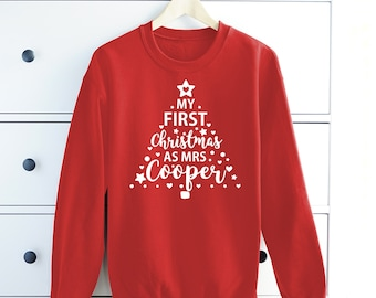My First Christmas As Mrs Personalised Sweatshirt Jumper Sweater