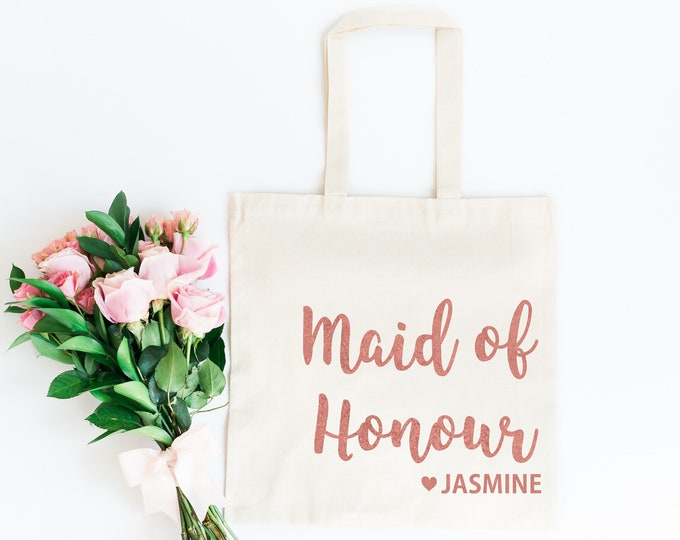 Featured listing image: Maid of Honour Bag • Maid of Honour Tote Bag • Bridesmaid Gift Bag • Personalised Hen Party Gift Bag • Bridesmaid Gift • Maid of Honour Gift