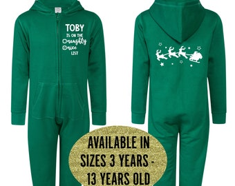 Personalised Christmas Onesie • Kids All-in-one • Hooded Jumpsuit • Naughty or Nice