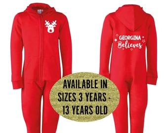 Personalised Christmas Onesie • Kids All-in-one • Hooded Jumpsuit