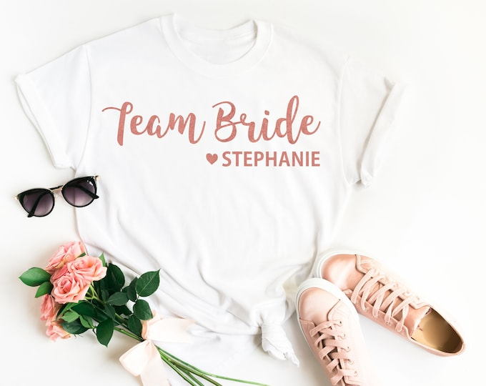 Featured listing image: Team Bride Shirt • Personalised Team Bride • Team Bride Top • Team Bride T Shirt • Bridesmaid Gift • Hen Party T Shirt • Bridesmaid T Shirt