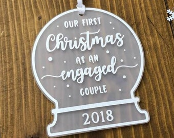 Our First Christmas as an Engaged Couple • Personalised Snow Globe Tree Decoration Ornament Engagement Gift