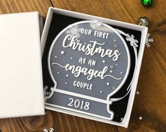 Personalised Engagement gift • Our First Christmas as an Engaged Couple • Snow Globe Tree Decoration Ornament