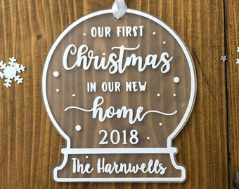 Personalised Family First Christmas In Our New Home Snow Globe Tree Decoration Ornament