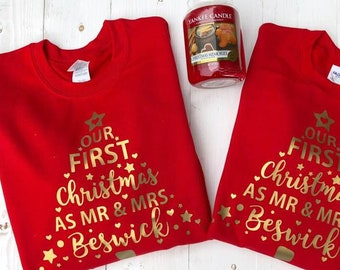 Matching Christmas Jumper Our First Christmas As Mr and Mrs • Personalised Christmas Jumper •Couples Jumper •Christmas Sweater• Sweatshirt