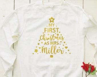 My First Christmas As Mrs Personalised Sweatshirt Jumper Sweater