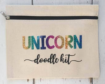 Unicorn Pencil Case |Unicorn Doodle Kit