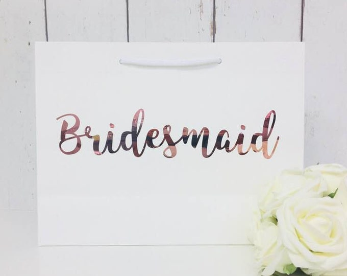 Featured listing image: Rose Gold Bridesmaid •Bridesmaid Gift Bag •Bridesmaid Bag •Personalised Bridesmaid Bag •Wedding Gift Bag •Boutique Bag •Thank You Bridesmaid
